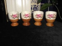 4 X VINTAGE EGG CUPS GLAZED FLORAL TOP & WOODEN BASES TLC DISPLAY ONLY
